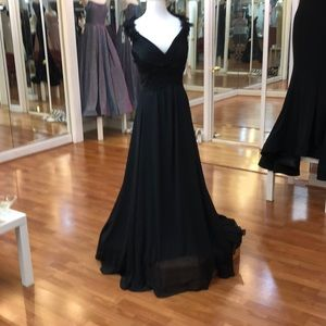 Black bridesmaid dress with floral shoulder straps